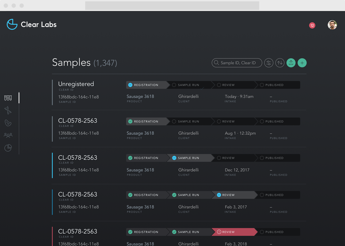 Clear Labs Sample List View